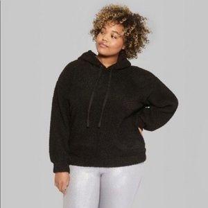 Wild Fable Women's Black Sherpa Hooded Sweatshirt